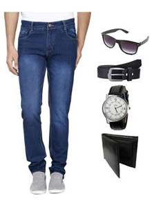 Ansh Fashion Wear C3-WATCH Beige Men Jeans With Watch