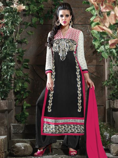 ADDA FASHION  AROMA 8004 BLACK   UNSTITCHED  WOMAN SUITS