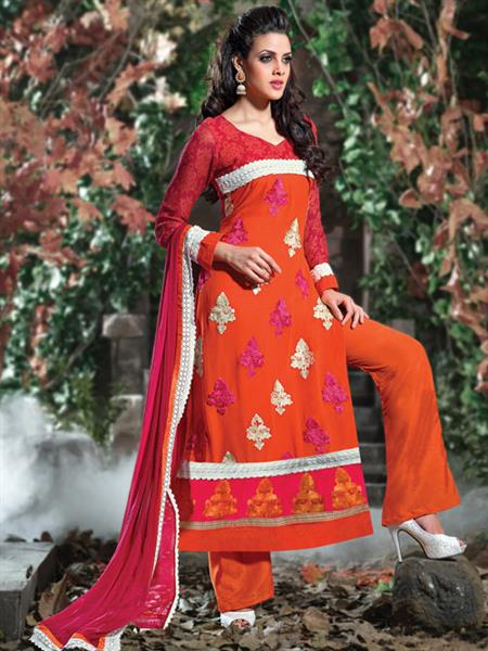 ADDA FASHION  AROMA 8005 ORANGE  UNSTITCHED  WOMAN SUITS