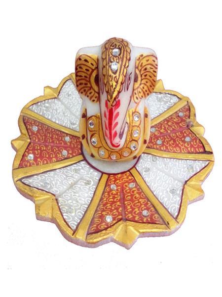 Chitrahandicraft Multicolor  Marble Flower Golden Ganesh