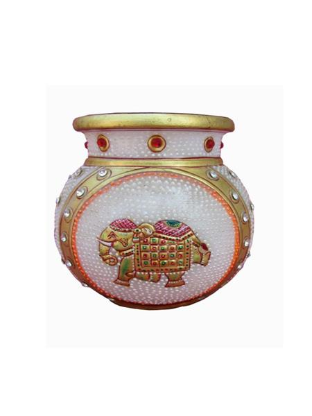 Chitrahandicraft Multicolor  Marble Pot