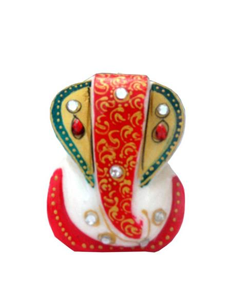 Chitrahandicraft Multicolor  Marble Golden Ear Ganesh