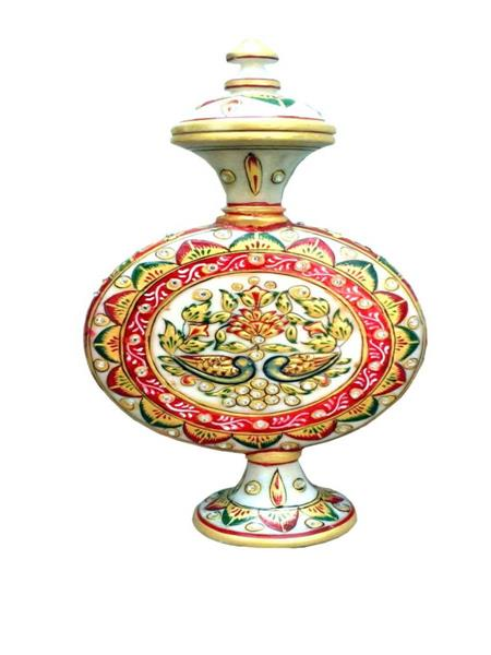 Chitrahandicraft Multicolor Marble Decorative Surahi
