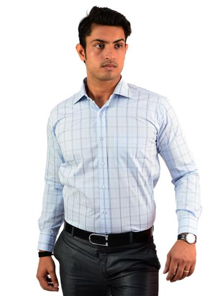 Western Closet WC07 Blue Men Formal Shirt