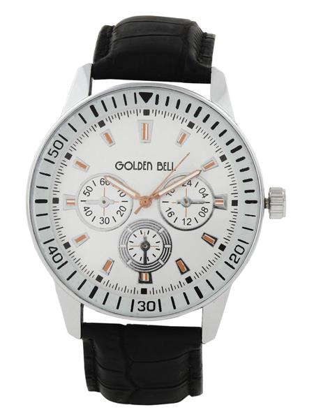 Golden Bell GB-0024WDBlkStrap White Men Analog Watch
