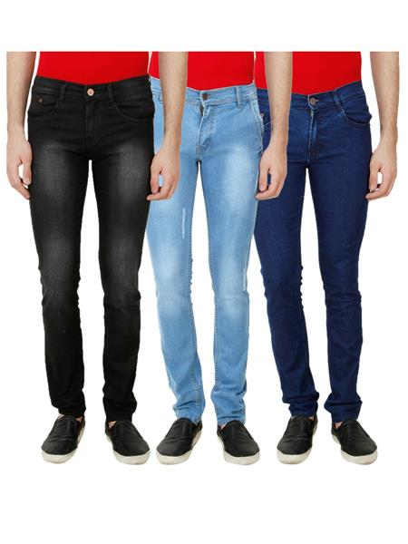 Ansh Fashion Wear Mj-3Cm-R-Jen-2 Multicolored Men Jeans Set Of 3