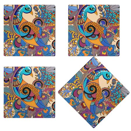 Kolorobia  WCP16Colorful Peacock Wooden Coasters