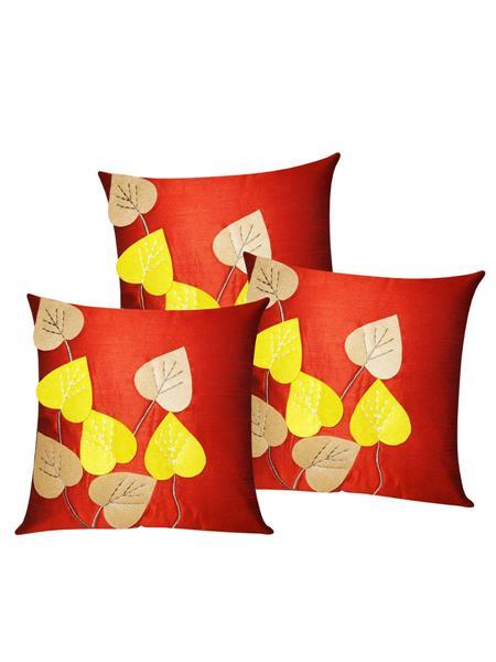 ZIKRAK EXIM ZE5426 Heart Felt Patch Rust Cushion Covers  40X40 Cms _Pack Of 3_