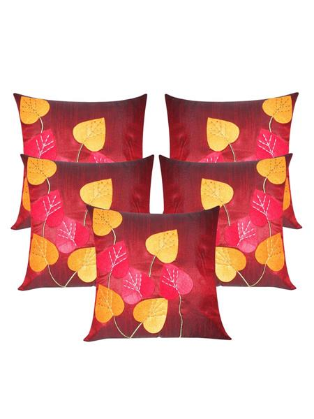 ZIKRAK EXIM ZE5431 Heart Felt Patch Maroon Cushion Covers  40X40 Cms _Pack Of 5_