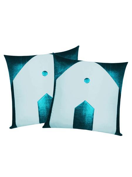 ZIKRAK EXIM ZE5433 Hut Design Blue N Sky Blue Cushion Covers  40X40 Cms _Pack Of 2_