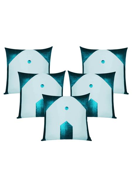 ZIKRAK EXIM ZE5435 Hut Design Blue N Sky Blue Cushion Covers  40X40 Cms _Pack Of 5_
