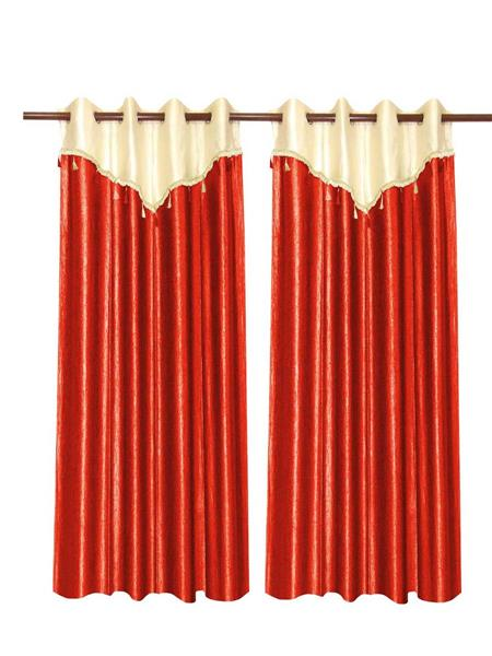 ZIKRAK EXIM ZECRW194 IVORY AND RUST WINDOW CURTAIN WITH FLAP 2 PCS SET (48 X 60 INCHES)