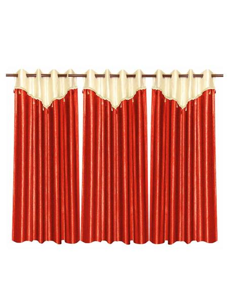 ZIKRAK EXIM ZECRW195 IVORY AND RUST WINDOW CURTAIN WITH FLAP 3 PCS SET (48 X 60 INCHES)