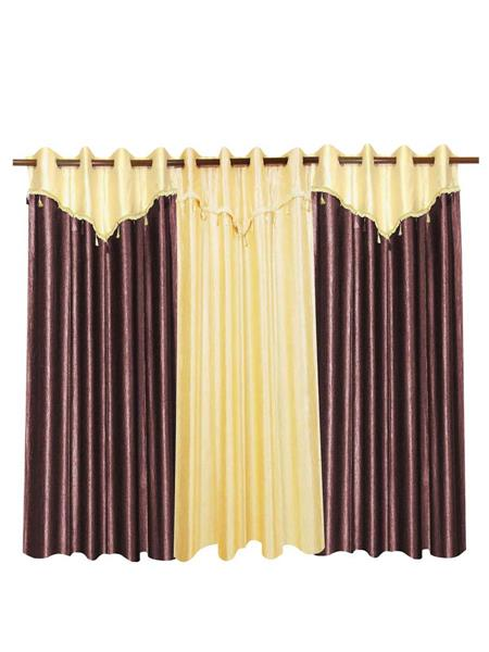 ZIKRAK EXIM ZECRW197 3 WINDOW CURTAINS COMBO WITH FLAP BROWN & IVORY(48 X 60 INCHES)