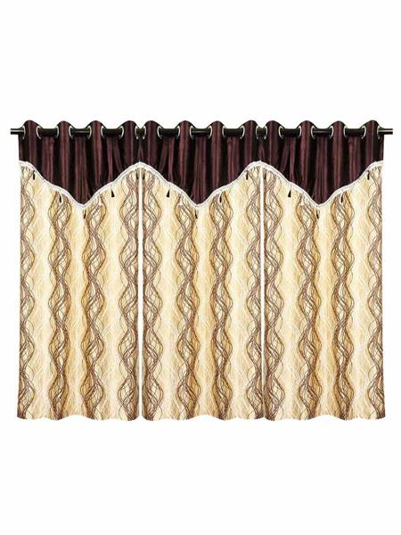 ZIKRAK EXIM ZECRW203 SPIRAL DESIGN WINDOW CURTAIN BROWN & BEIGE WITH FLAP 3 PCS SET(48 X 60 INCHES)