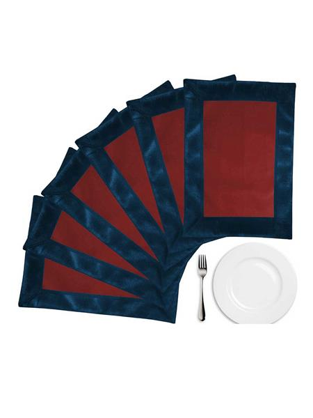 ZIKRAK EXIM ZETM40 LEATHER PATCH APPLIED BORDER PLACE MAT BLUE & BROWN 6 PCS SET