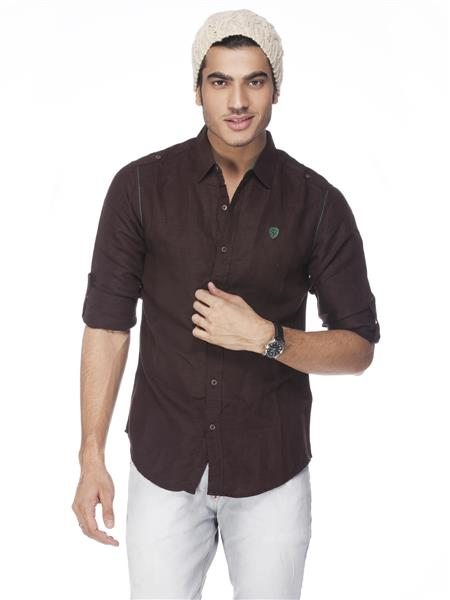 Spykar  W14-52 Brown Mens  Casual Shirt