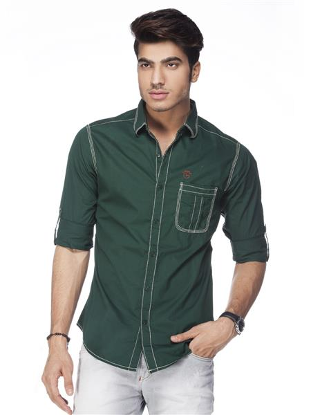 Spykar  S14-06 Green Mens Casual Shirt