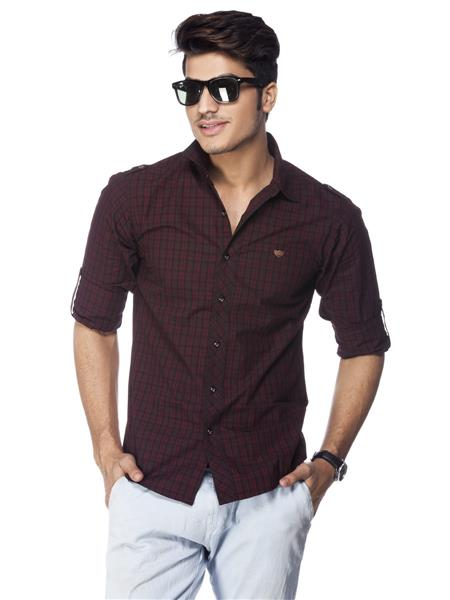 Spykar  W14-52 Red Mens Casual Shirt