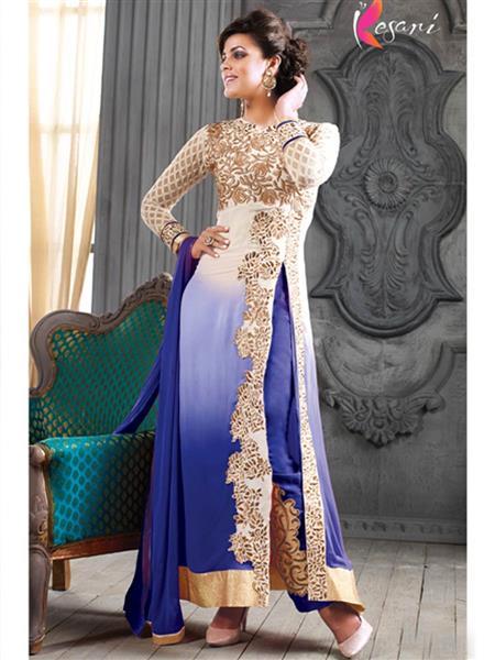 ADDA FASHION KESARI TRNDZ 5001-C BLUE UNSTITCHED  WOMAN SUITS