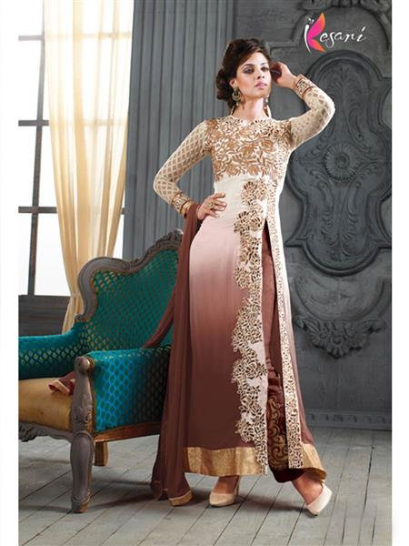 ADDA FASHION KESARI TRNDZ 5001-D BROWN  UNSTITCHED  WOMAN SUITS