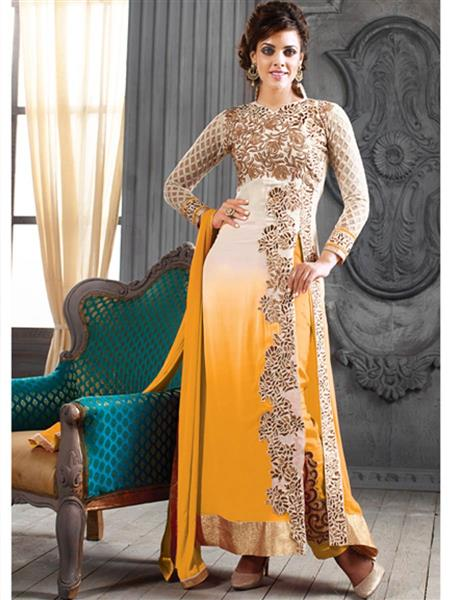 ADDA FASHION KESARI TRNDZ 5001-E MUSTARD  UNSTITCHED  WOMAN SUITS