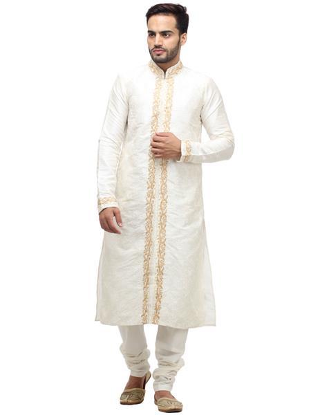 Swarnam 2059 White Mens Ethnic Wear