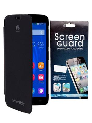 Serkudos Huawei Honor Holly  Black Flip Cover With Screenguard Combo