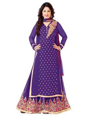 Jenil Fashion 1007F Purple Women Palazzo Suit