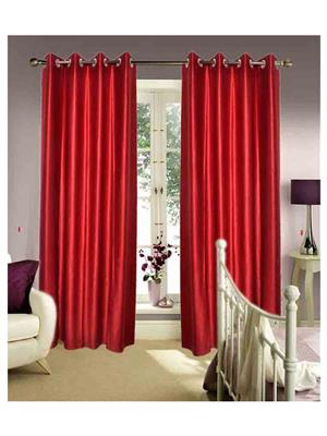 SAI ARPAN 1028-Maroon-5-1 Maroon Window Curtain