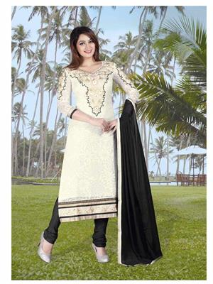 Ethnic Culture 1042-24515 White Women Straight Salwar Suit