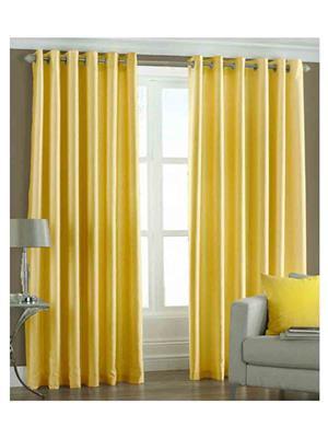 SAI ARPAN 1051-1-YELLOW-9FT Yellow Long Door Curtain