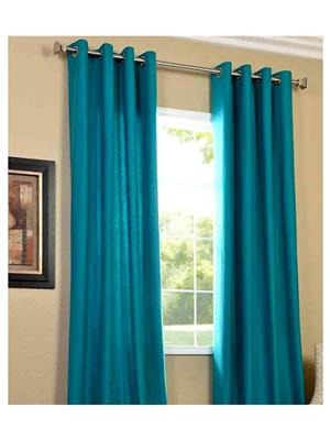 SAI ARPAN 1052-2-FIROZI-9FT Light Blue Long Door Curtain