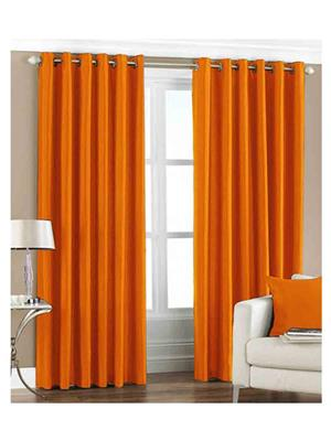 SAI ARPAN 1053-2-ORANGE-7FT Orange Door Curtain