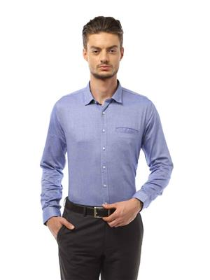 Able 109019 Blue Solid Men Shirt Fabric