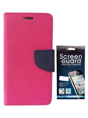 Serkudos Moto G3 Pink Flip Cover With Screenguard Combo