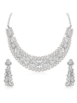 kriaa 1105321 White Women Jewellery Set
