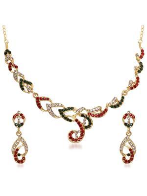 kriaa 1105506 Maroon & Green Women Jewellery Set