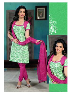 Ethnic Culture 1133-25841 Green Women Dress Material