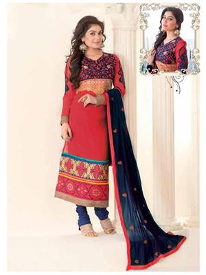 Ethnic Culture 1135-25869 Red Women Straight Salwar Suit