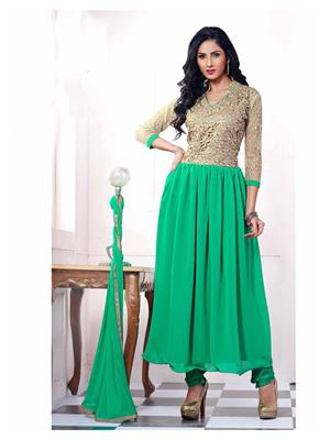 Ethnic Culture 1208-26857 Green Women Anarkali Salwar Suit