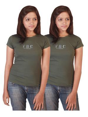 Twin Birds 1212-11 green Women T-Shirts Pack of 2