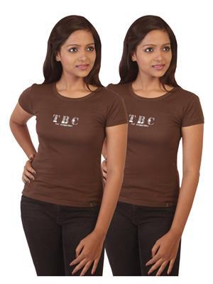 Twin Birds 1212-12 Brown Women T-Shirts Pack of 2