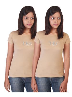 Twin Birds 1212-13 Grey Women T-Shirts Pack of 2
