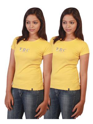 Twin Birds 1212-15 Yellow Women T-Shirts Pack of 2