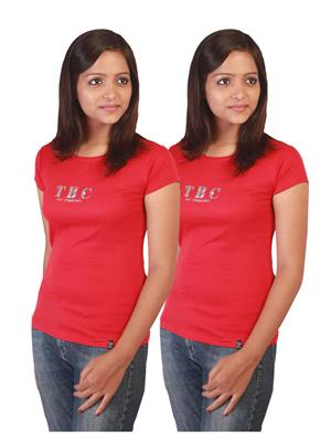 Twin Birds 1212-18 Red Women T-Shirts Pack of 2