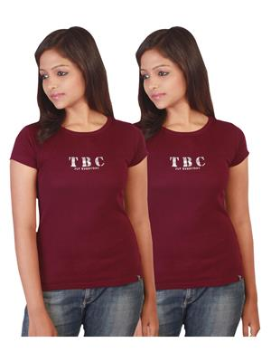Twin Birds 1212-19 Red Women T-Shirts Pack of 2
