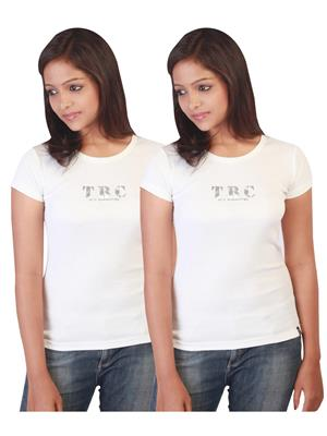 Twin Birds 1212-1 White Women T-Shirts Pack of 2