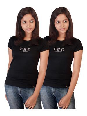 Twin Birds 1212-2 Black Women T-Shirts Pack of 2