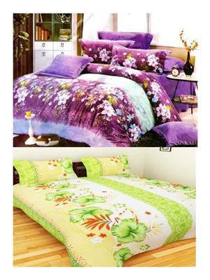 Sai Arpans 123-1186  Double Bedsheet  Combo (Set of 2)